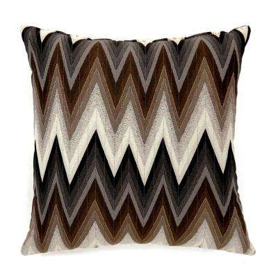 Ziggs 18 in. Contemporary Throw Pillow in Brown (Pack of 2)