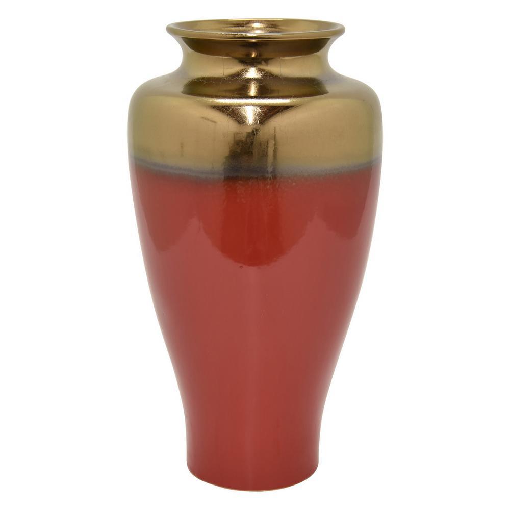 17.5 in. Red Ceramic Vase