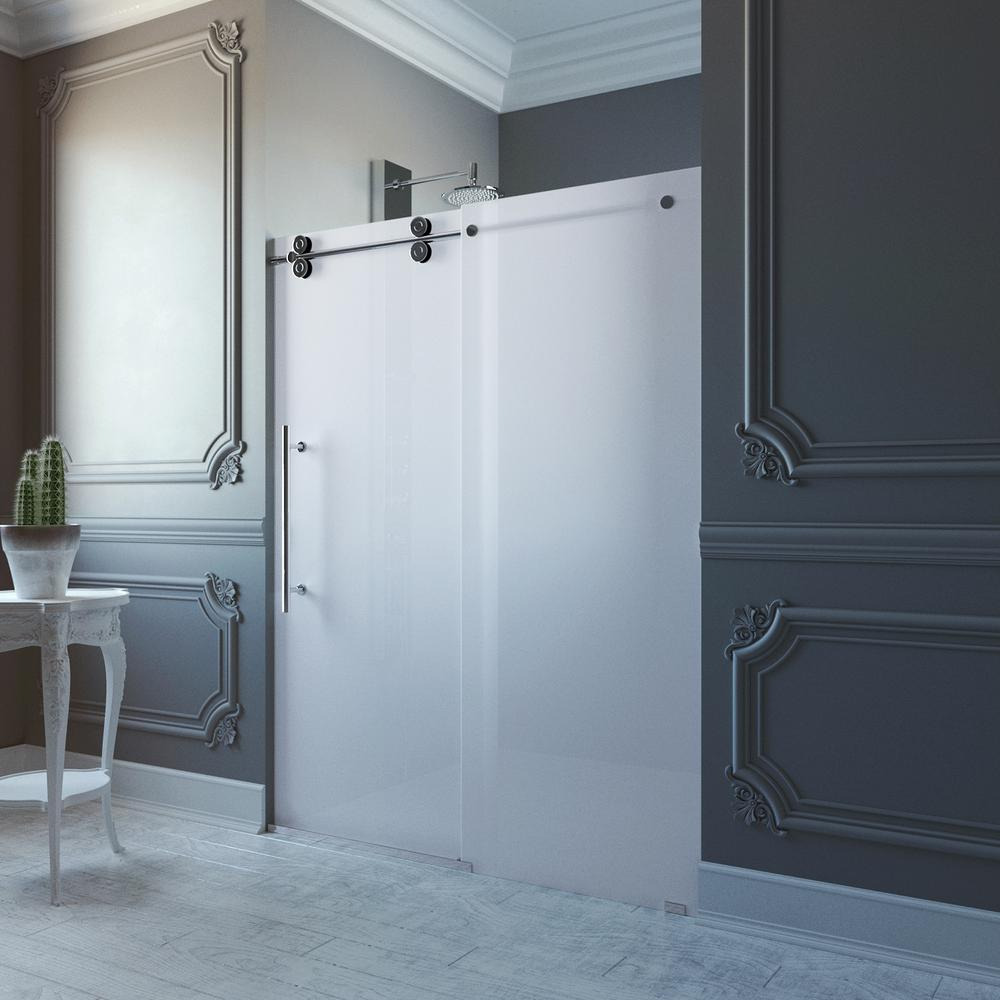 VIGO Elan 60 in. x 74 in. Frameless Bypass Shower Door in Chrome with Frosted Glass