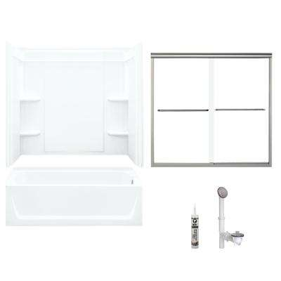 Ensemble 32 in. x 60 in. x 73 in. Bath and Shower Kit with Right-Hand Drain in White and Brushed Nickel