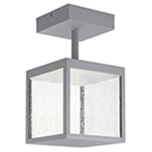 Reveal 1-Light Satin Gray Integrated LED Outdoor Semi Flush with Seeded Glass