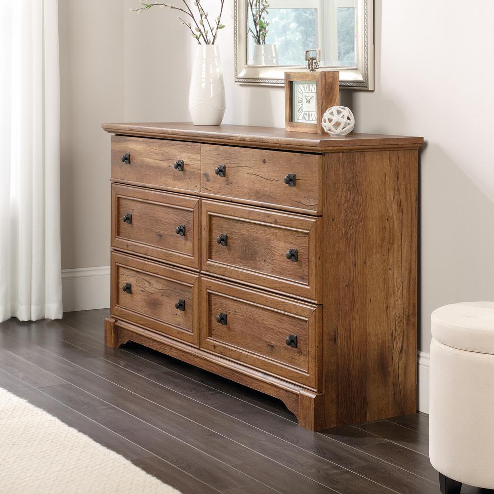 SAUDER Palladia 6-Drawer Vintage Oak Dresser 420613