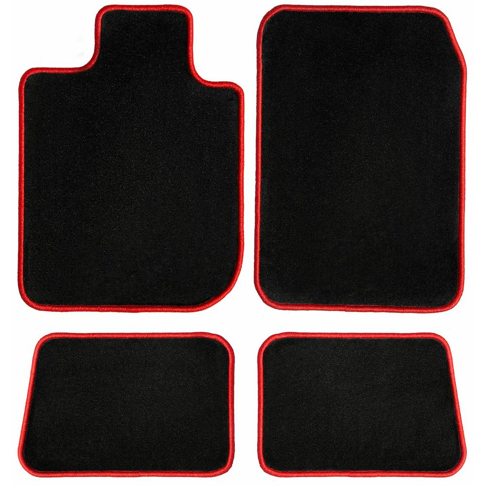 2015 Chevrolet Spark Black with Red Edging Driver 2014 Passenger /& Rear Floor GGBAILEY D50956-S1A-BLK/_BR Custom Fit Car Mats for 2013