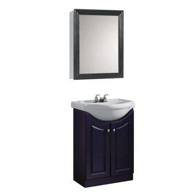 24 in. W Standard Vanity in Espresso Color with Ceramic Vanity Top in White with White Basin and Mirror