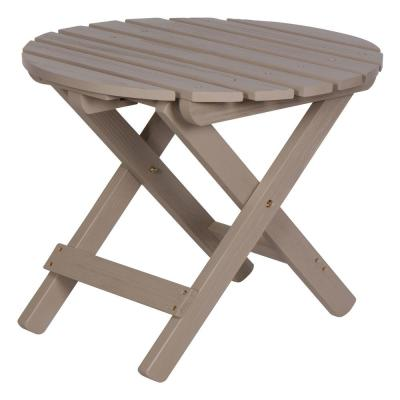 19.5 in. Tall Graystone HYDRO-TEX Finish Round Cedar Wood Adirondack Outdoor Folding Side Table
