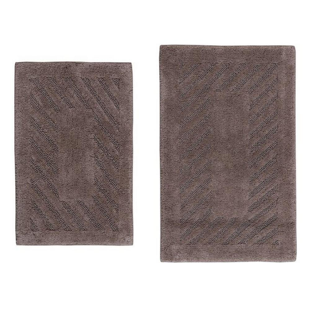 Stone 17 In. X 24 In. And 21 In. X 34 In. Diagonal Racetrack Reversible Bath Rug Set (2 Piece), Grey
