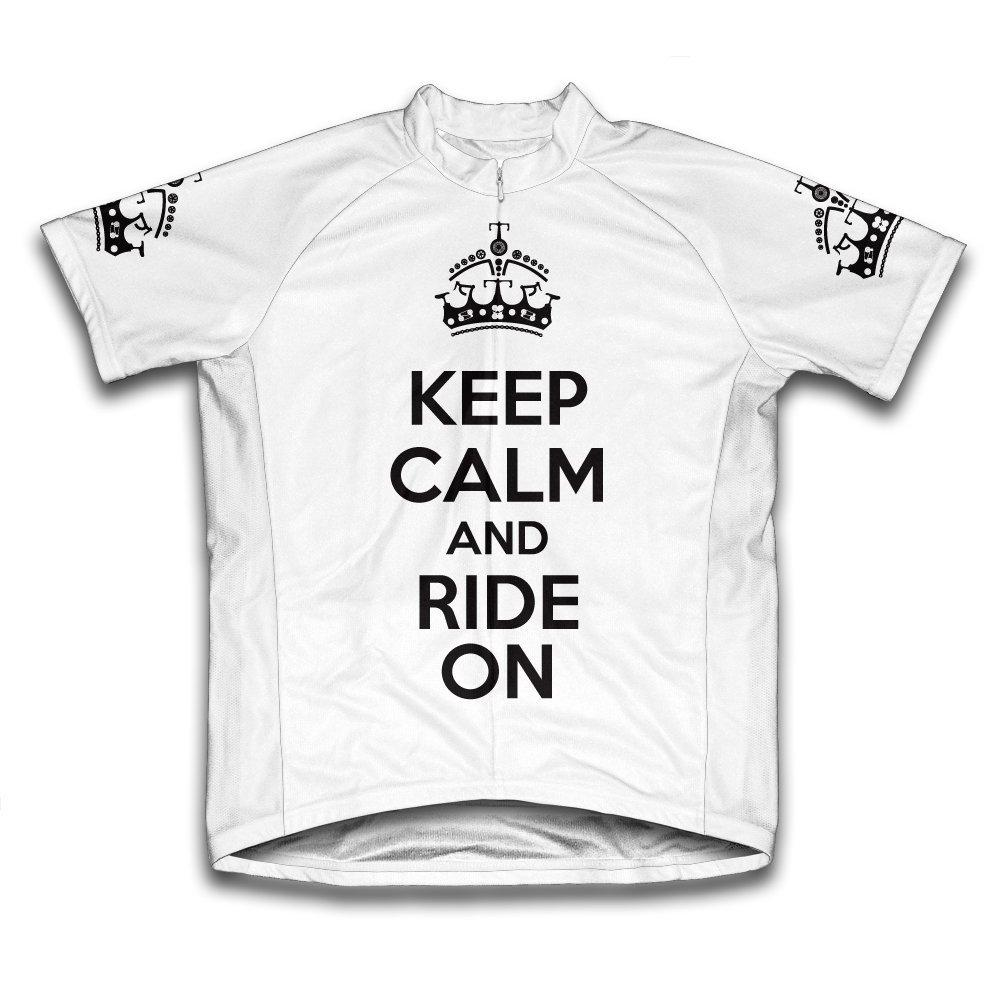 Unisex Large White Keep Calm and Ride on Microfiber Short...