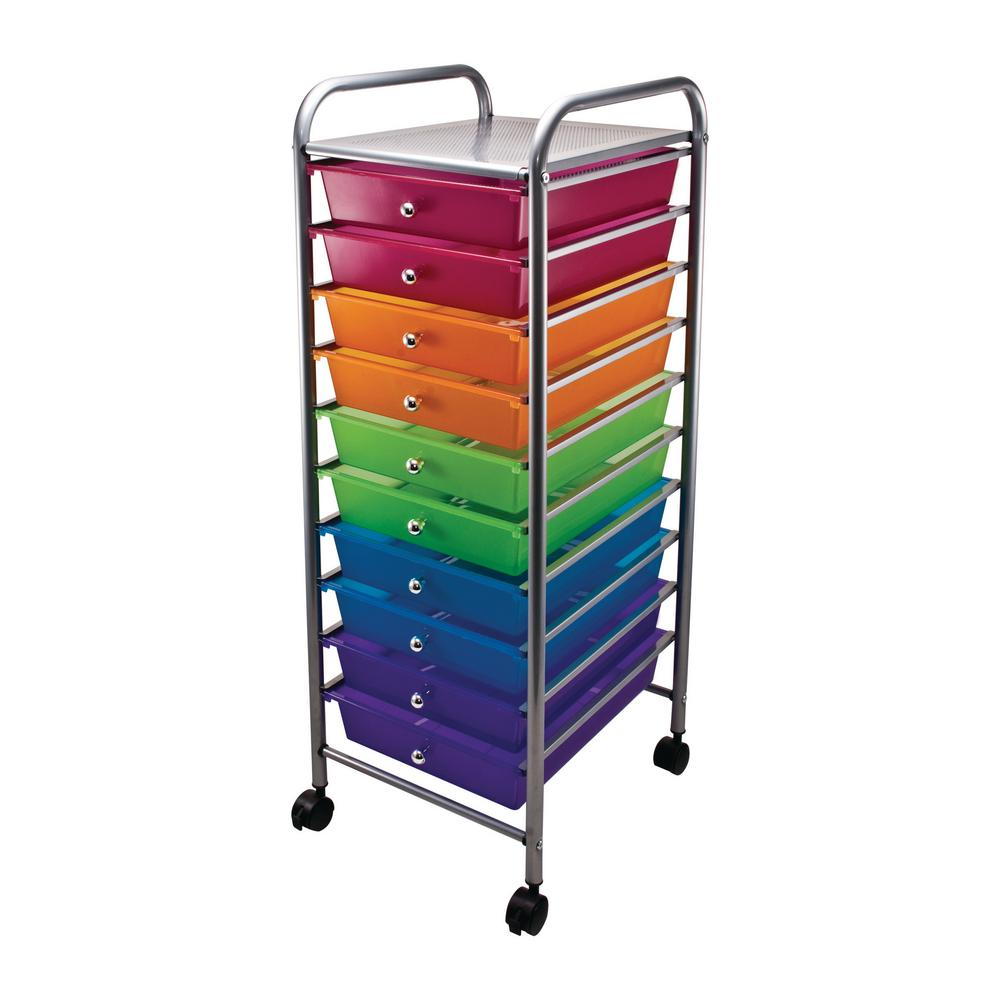 10 Drawer Steel File Organizer Cart In Multi Colors