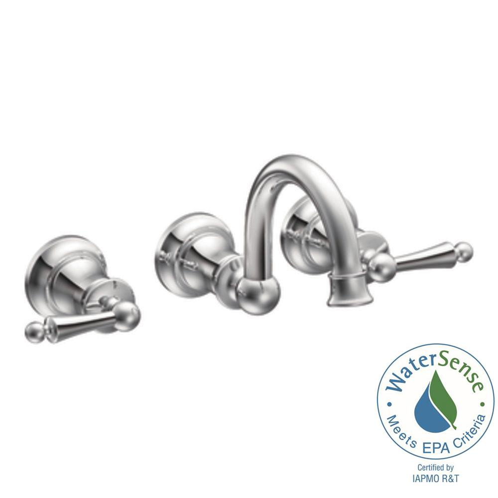 MOEN Waterhill Wall-Mount 2-Handle High-Arc Bathroom Faucet Trim Kit in Chrome (Valve Not Included)