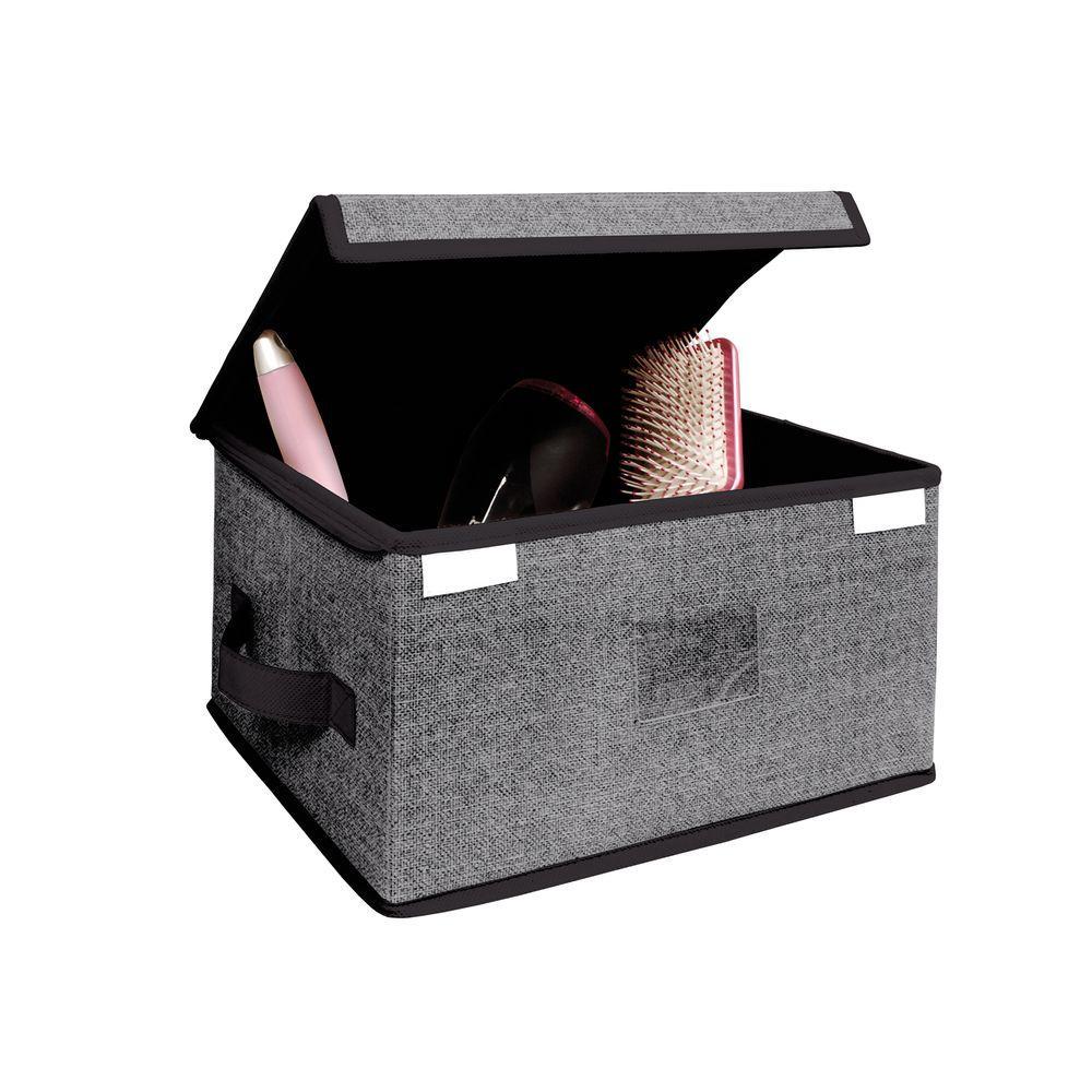 Simplify 10 in. x 7 in. x 14 in. Medium Zippered Grey Polypropylene Storage Box