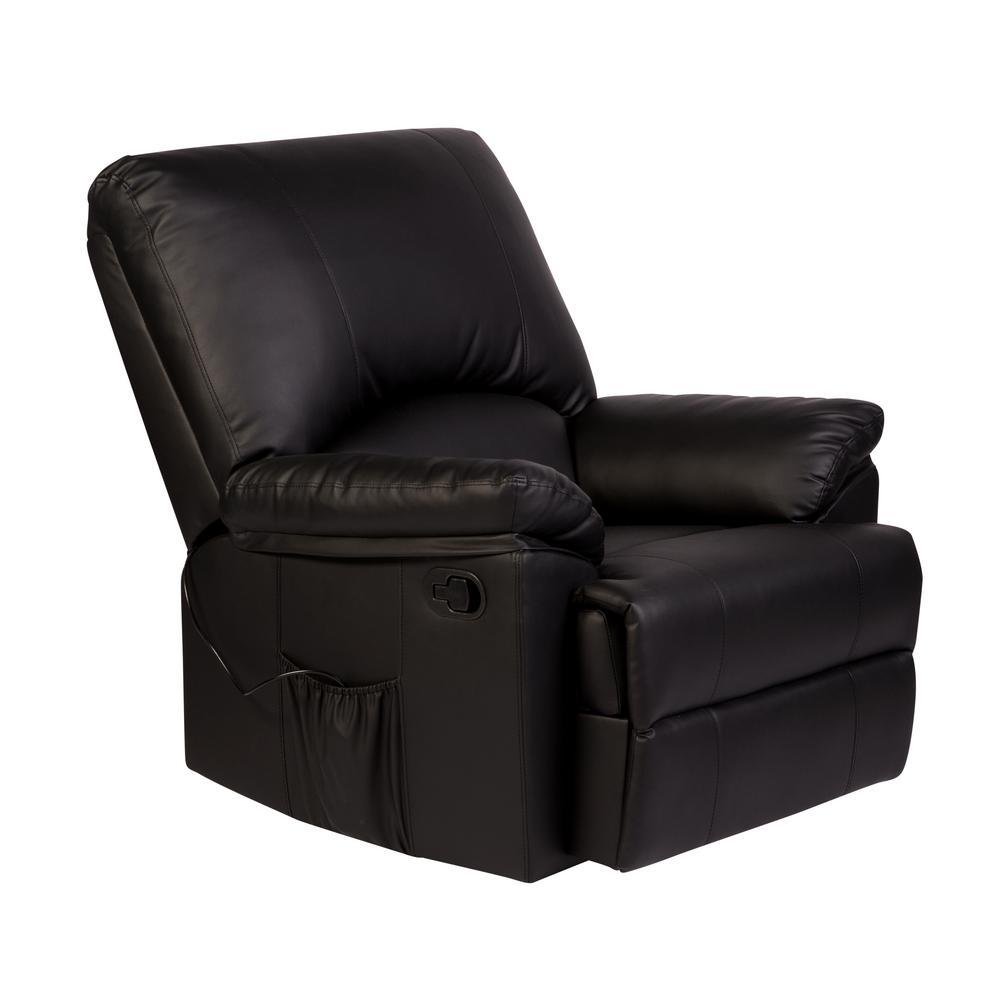 Relaxzen Reynolds Black Bonded Leather Massage Rocker Recliner 60-7000M05