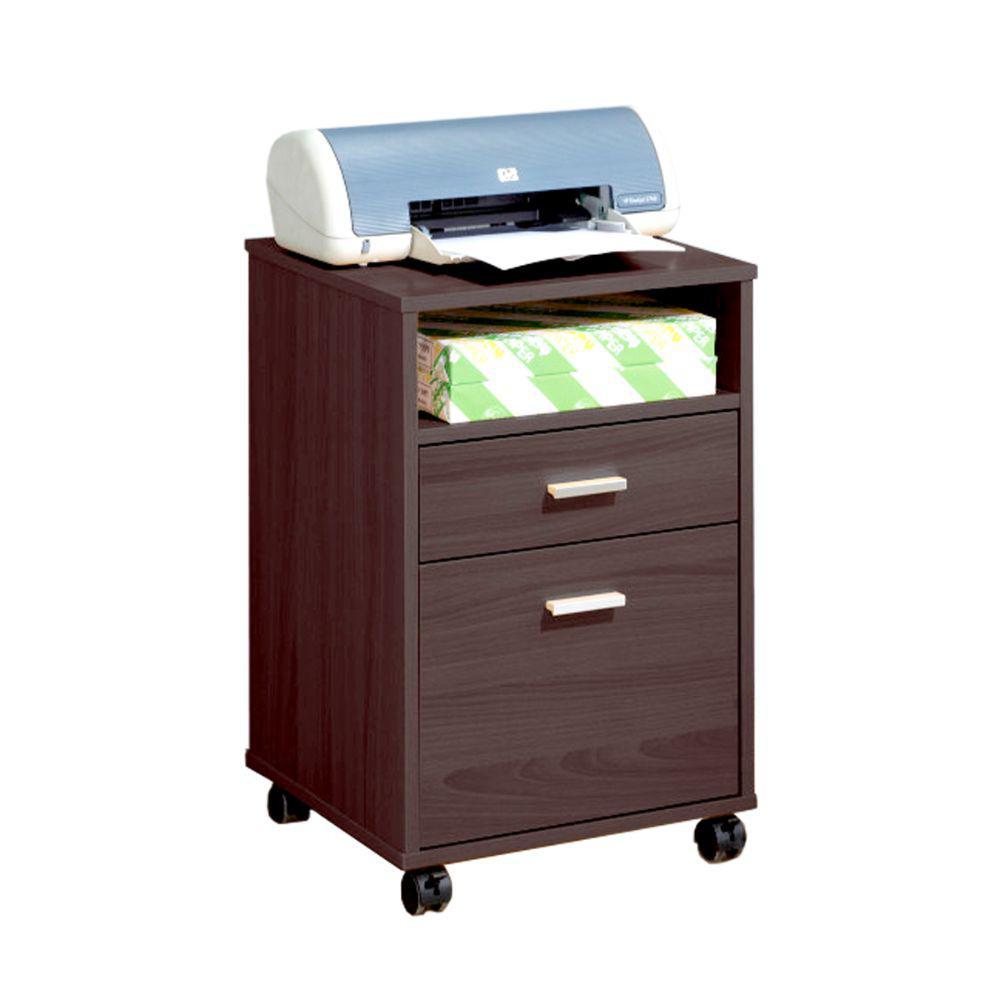 Dark Brown Mobile Storage File Cabinet