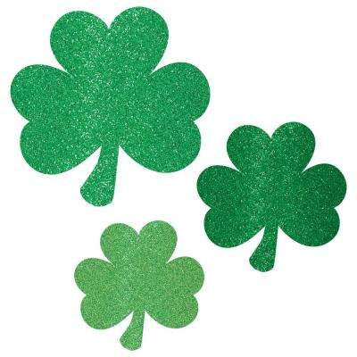St. Patrick's Day Green Paper Shamrock Cutout Assortment (10-Count, 5-Pack)