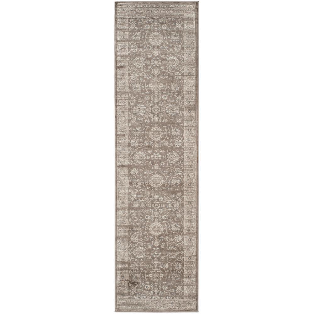 Vintage Brown/Ivory 2 ft. x 10 ft. Runner Rug
