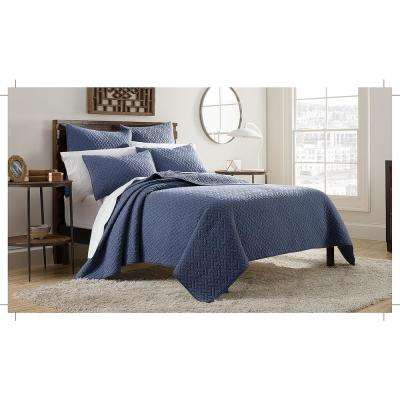 Kennedy 3-Piece Indigo King Mini Quilt Set