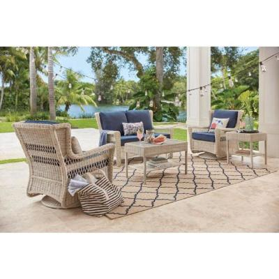 Park Meadows Off-White Swivel Rocking Wicker Outdoor Lounge Chair with Midnight Cushion