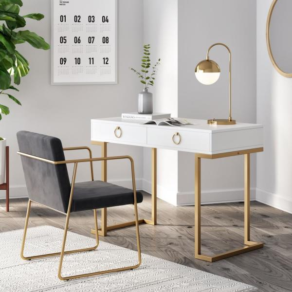 Nathan James Leighton White 2-Drawer Writing Desk with Gold Accent 53301