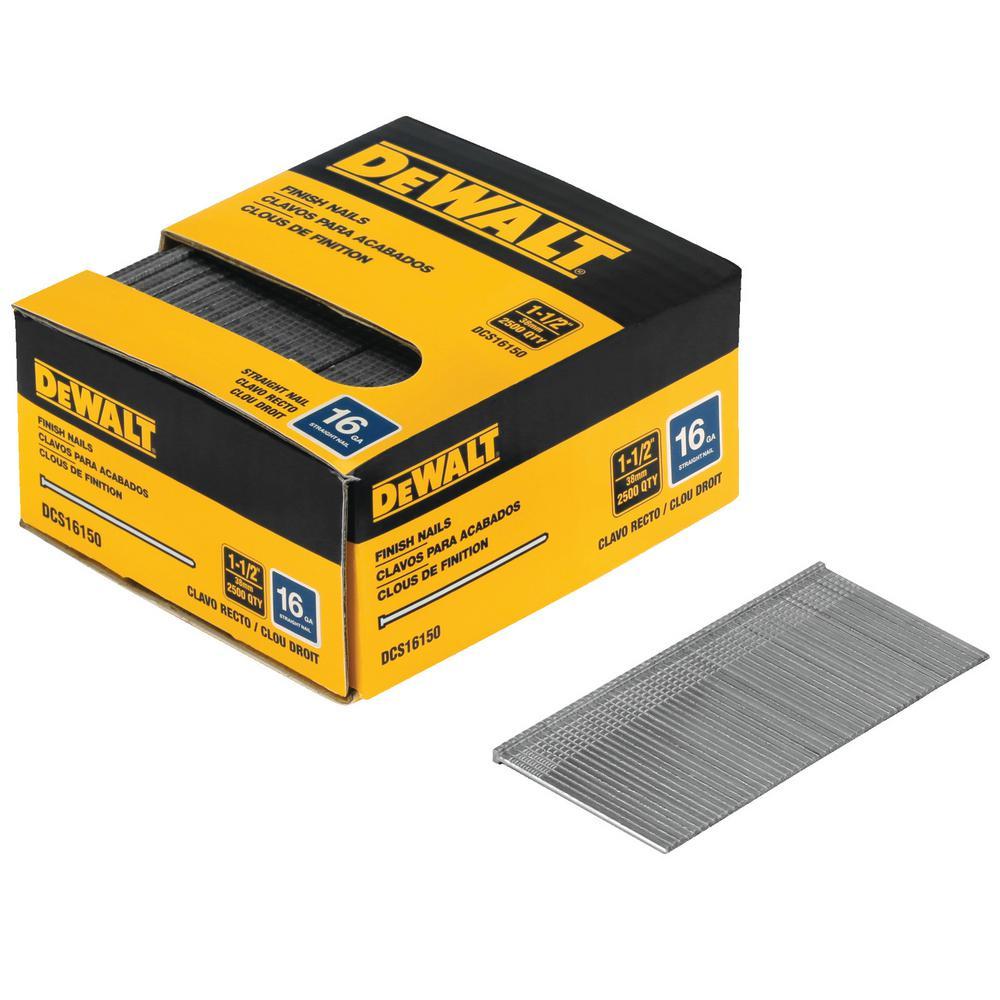 DEWALT 1-1/2 in. x 16-Gauge Plastic Collated Straight Nails (2500 per Box)
