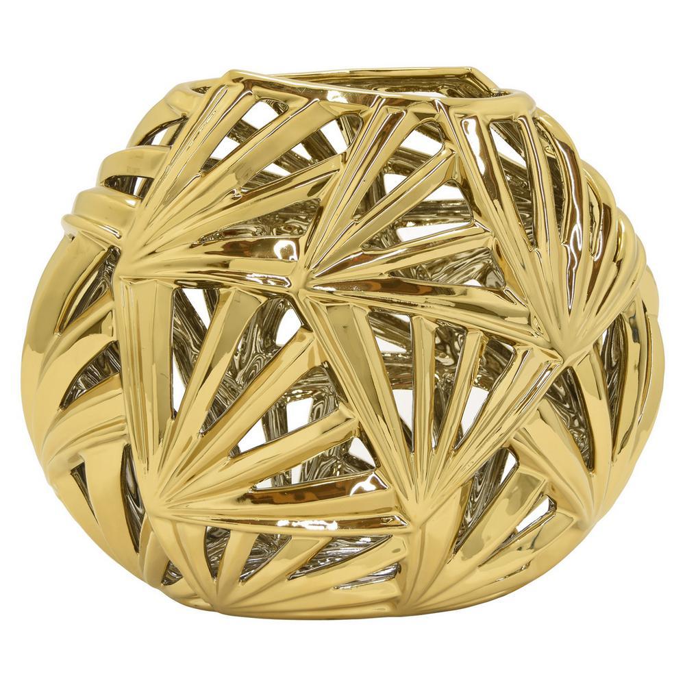 Pierced Gold Ceramic Decorative Vase