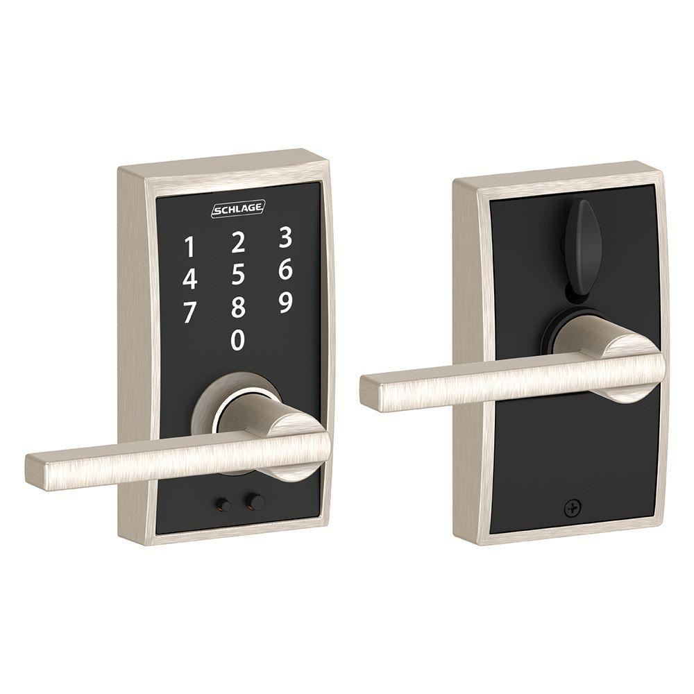 Schlage Latitude Satin Nickel Touch Electronic Door Lever With Plymouth Trim
