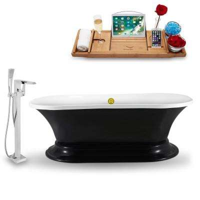 Tub, Faucet and Tray Set 68 in. Acrylic Flatbottom Non-Whirlpool Bathtub in Glossy Black