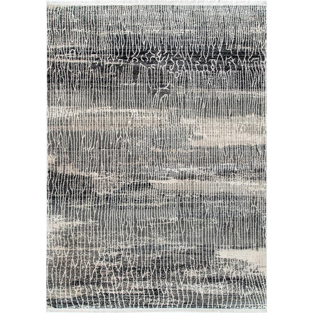 Vintage Mara Abstract Fringe Gray 2 ft. 6 in. x 8 ft. Runner