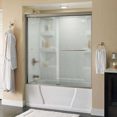 Simplicity 60 in. x 58-1/8 in. Semi-Frameless Sliding Bathtub Door in Chrome with Droplet Glass