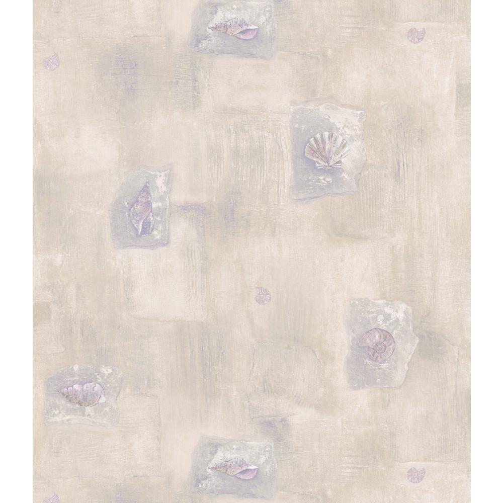 Kitchen and Bath Resource II Neutral Shells And Blocks Wallpaper Sample