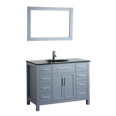 Bosconi 43.3 in. W Single Bath Vanity in Grey with Tempered Glass Vanity Top in Black with Black Basin and Mirror