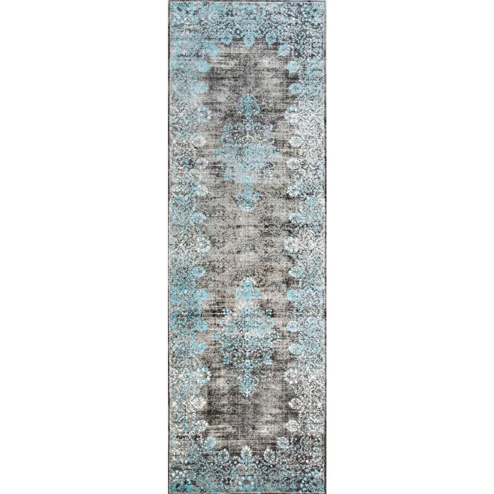 Lacy Vintage Floral Teal 3 ft. x 8 ft. Runner