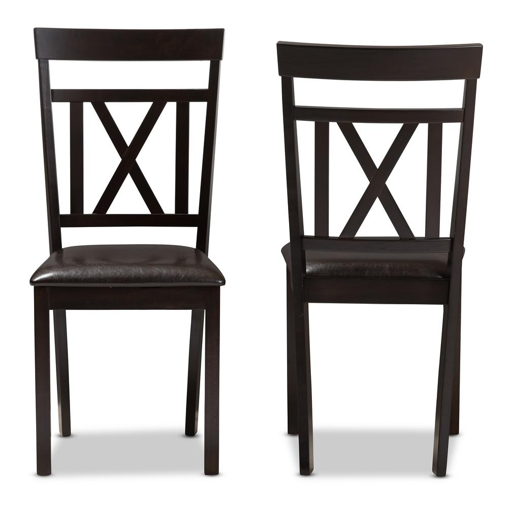 Rosie Dark Brown Faux Leather Dining Chair (Set of 2)