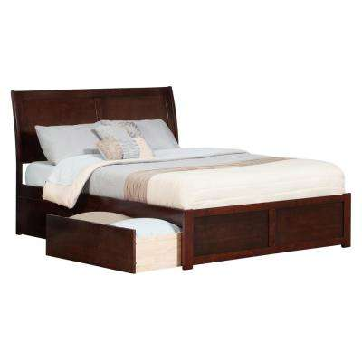 Portland Walnut Queen Platform Bed with Flat Panel Foot Board and 2-Urban Bed Drawers
