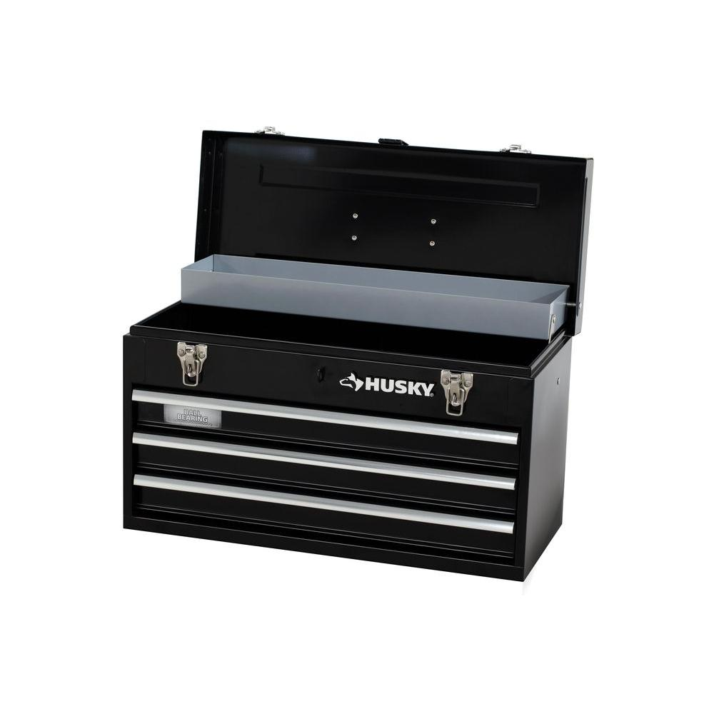 Husky   Drawer Portable Tool Box With Tray Tb B The Home Depot