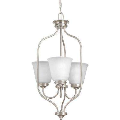 Keats Collection 3-Light Brushed Nickel Chandelier with Frosted Ribbed Glass
