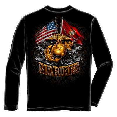 Men's 2X-Large Black Cotton Long Sleeved Marine Corps Shirt