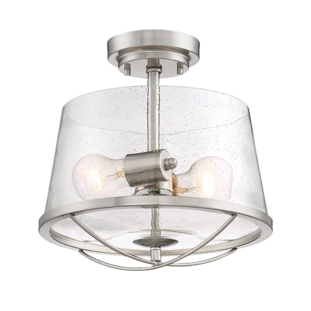 Darby 2-Light Satin Platinum Interior Semi-Flush Mount