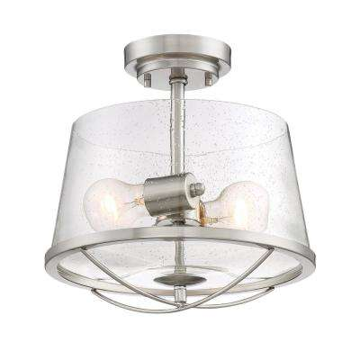 Darby 2-Light Satin Platinum Interior Semi-Flushmount