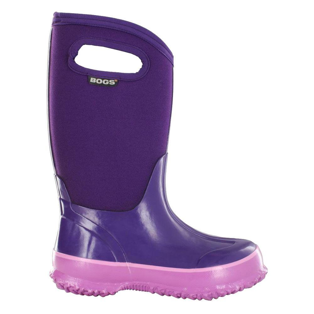 BOGS Classic High Handles Kids 10 in. Size 5 Grape Rubber with Neoprene Waterproof Boot