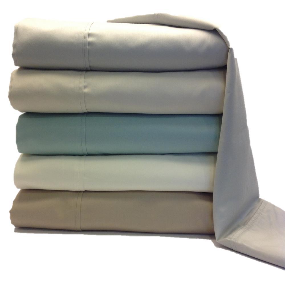 4-Piece Beige Solid Cotton Rich Twin Sheet Set by