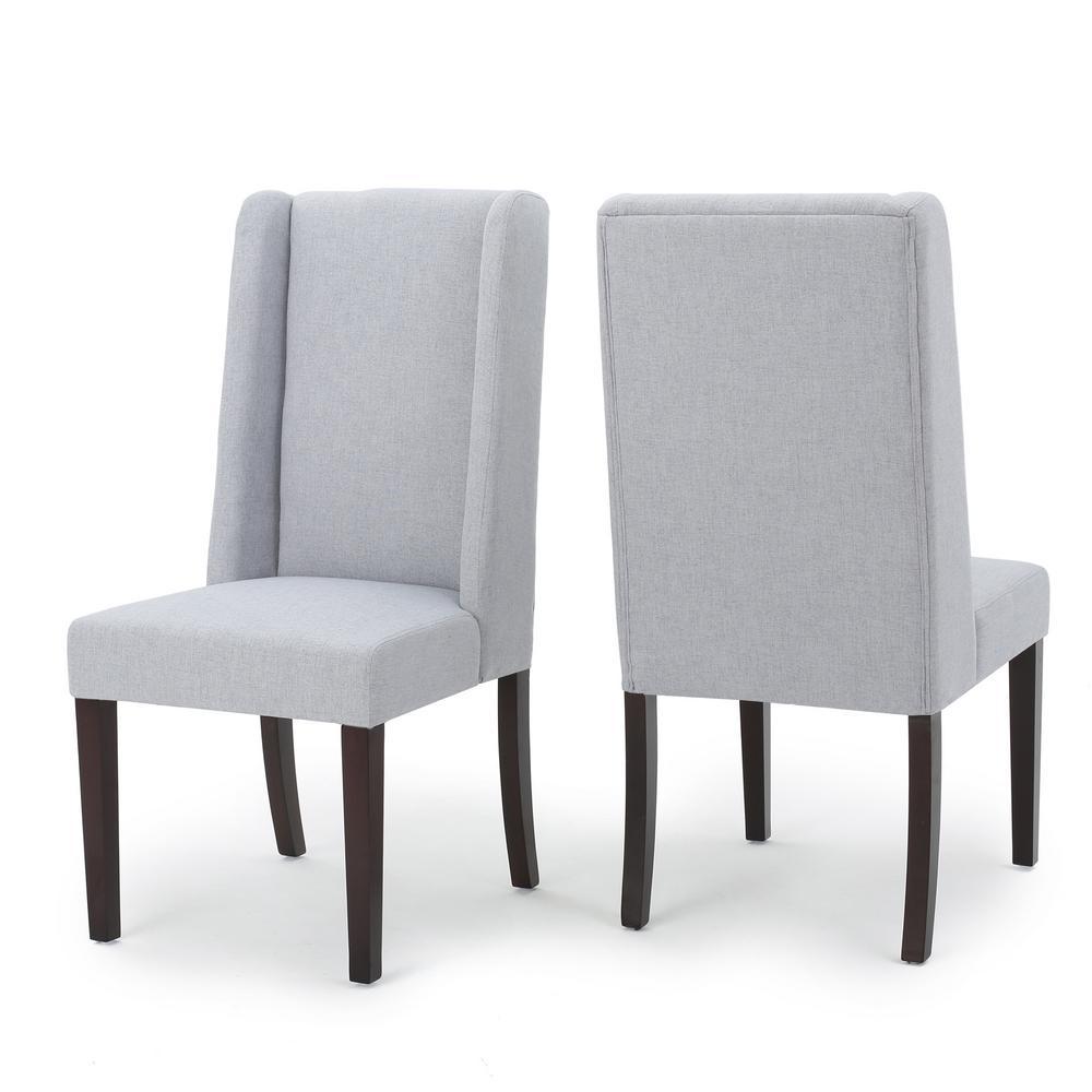 Braelynn Light Grey Fabric Wing Back Dining Chair (Set of 2)