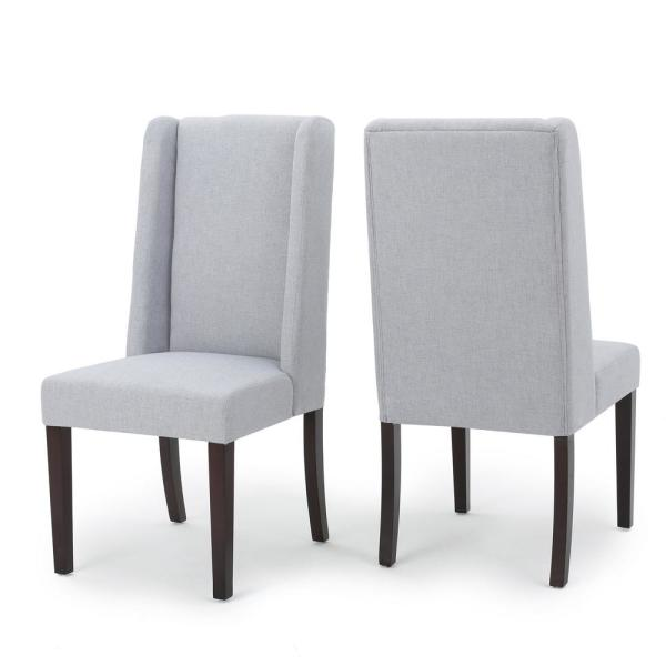 485abee00078 Noble House Braelynn Light Grey Fabric Wing Back Dining Chair (Set of 2)