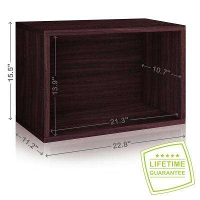 Eco Stackable zBoard  11.2 in.x 22.8 in. x 15.5 in. Tool-Free Assembly Rectangle Cubby Shelf Unit in Espresso Wood Grain