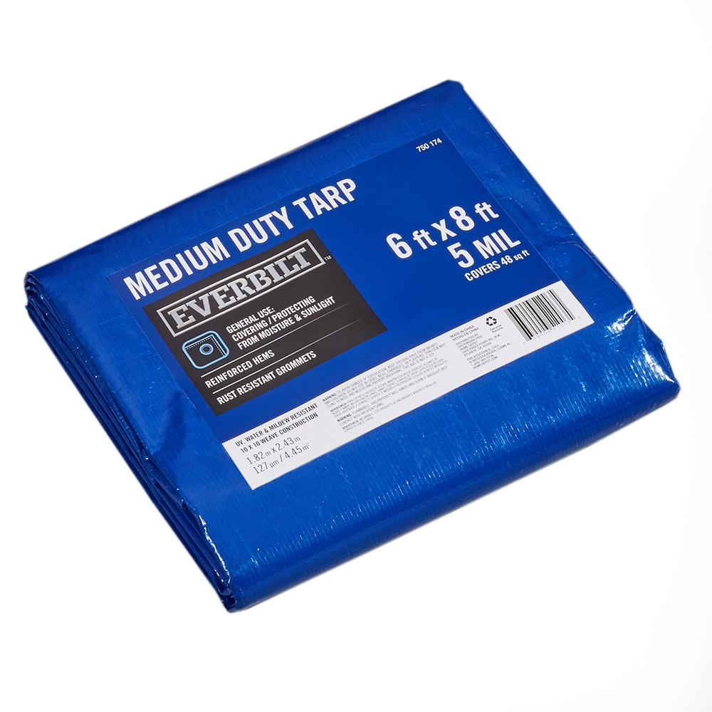 Everbilt 6 ft. x 8 ft. Blue Medium Duty Tarp
