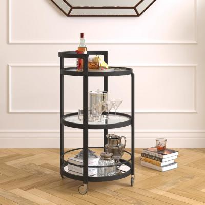 Hause blackened bronze mirrored bar cart
