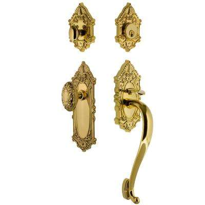 Victorian Plate 2-3/8 in. Backset Lifetime Brass S Grip Entry Set Victorian Knob