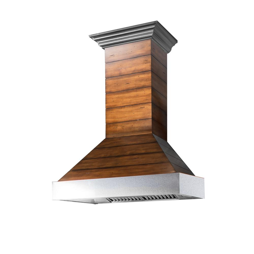 ZLINE Kitchen and Bath 36 in. Shiplap Wooden Wall Mount Range Hood with  Stainless Steel Accent - Includes 1200 CFM Motor
