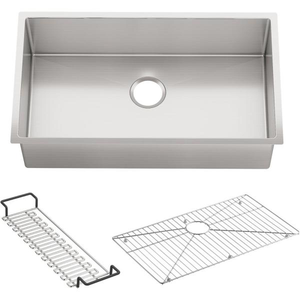 Kohler Strive Undermount Stainless Steel 32 In Single Bowl Kitchen Sink With Included Accessories K 5285 Na The Home Depot