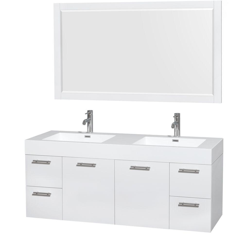 official photos b92c1 e5346 Wyndham Collection Amare 60 in. Double Vanity in Glossy White with  Acrylic-Resin Vanity Top in White, Integrated Sinks and 58 in. Mirror