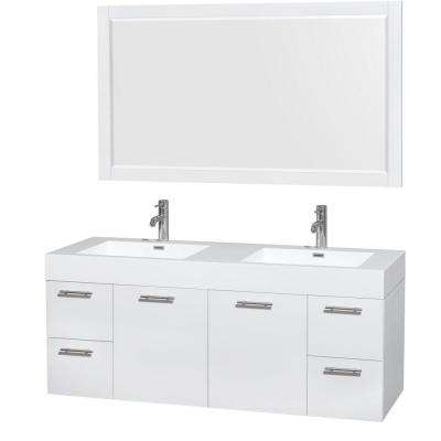 Amare 60 in. Double Vanity in Glossy White with Acrylic-Resin Vanity Top in White, Integrated Sinks and 58 in. Mirror