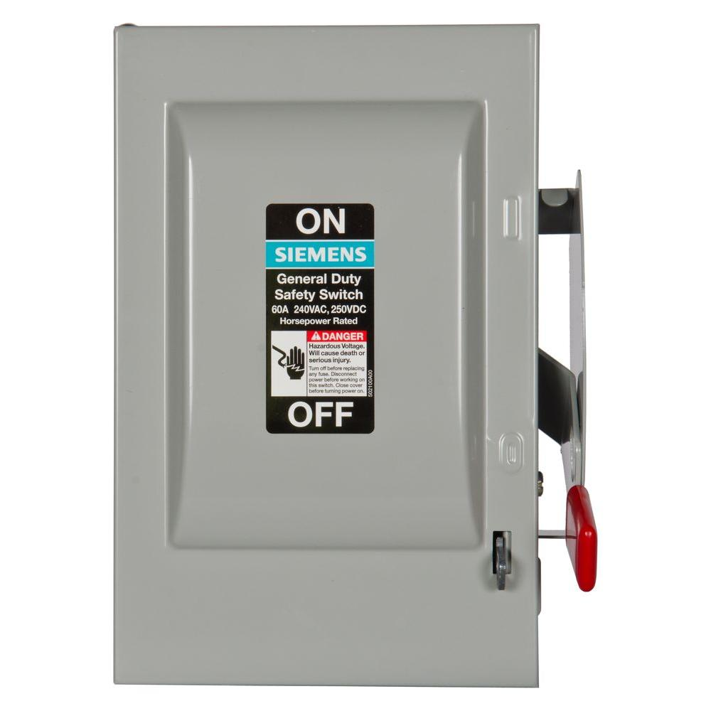 Siemens General Duty 60 Amp 3 Pole Non Fusible Indoor Safety Switch
